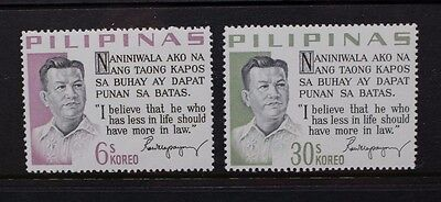 PHILIPPINES 1967 Presidential Sayings (6): Quezon. Set of 2. MNH. SG1055/1056.