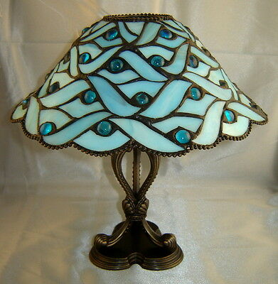 PartyLite BLUE SPRING WATERS Retired Stained Glass Tea Light Lamp - NEW!