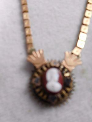 Victorian Gold Filled Bookchain Necklace W/ Hard Stone Cameo Pendant