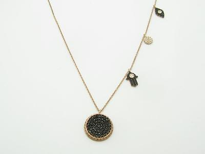 18k Rose Gold Sterling Silver Black White Sapphire Evil Eye Kabbalah Necklace