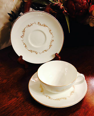 Royal Doulton FRENCH PROVINCIAL 2 Saucers & 1 Cup  White w/ Gold Gilt Trim H4945