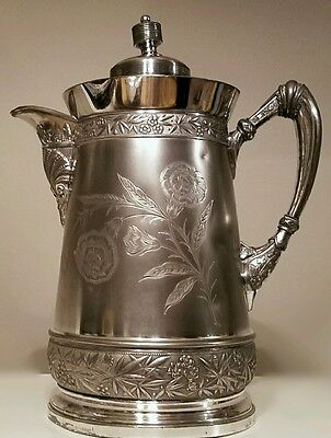 Antique WILCOX Silver Plate Co. Floral Etched Quadruple Plate Water Pitcher