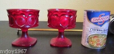 VTG Pair 2 Ruby Red Glass Small Thumbprint Square Footed Goblet Dessert Glasses