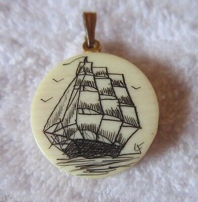 Vintage Hand Made Scrimshaw Nautical Pendant Signed CF Maritime Ship Sailing