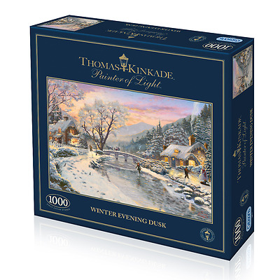 GIBSONS JIGSAW PUZZLE 1000 PIECES Winter Evening Dusk by THOMAS KINKADE G6212