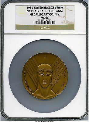 1930 National Air Race 10th Anniversary The Olympiad of the Air  Medal NGC MS66