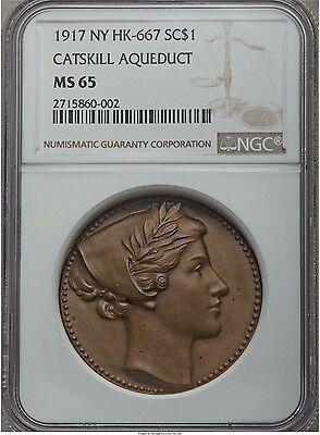 1917 New York Catskill Aqueduct So-Called Dollar, HK-667 NGC MS65