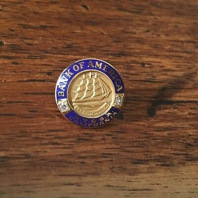 Fine Vintage 14k Gold Bank Of America Employee Lapel Pin 1940's