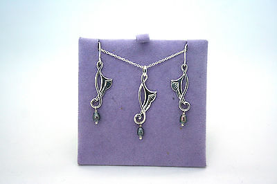 Kit Heath Earrings and Necklace set - Solid Silver - Angel wing design