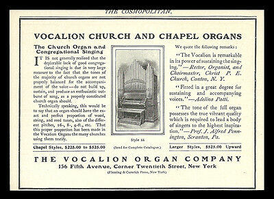 Musical Instrument Church Chapel Pipe Organ Vocalion Organ Co. New York 1901 AD