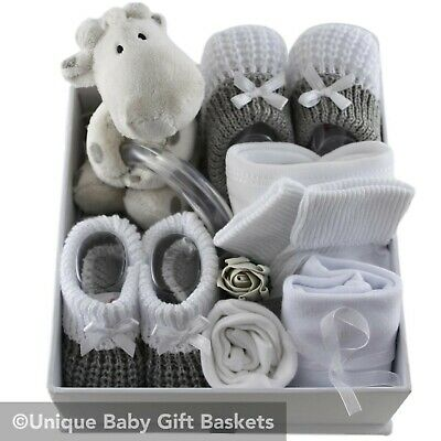 Baby gift basket/hamper white & silver packed Twinkle keepsake box neutral