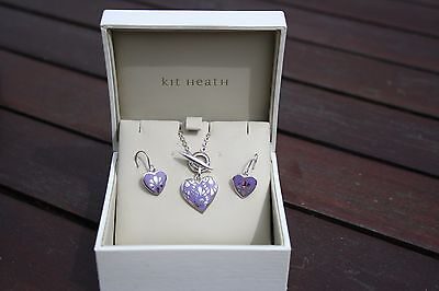 Beautiful Pretty Kit Heath Lilac Silver Heart Necklace and earrings set