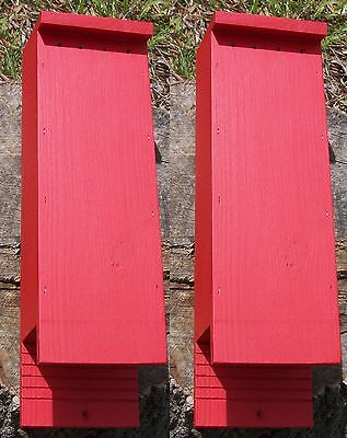 Twin Pack 2 or 3 Chamber Bat House Painted Red or Brown, Including Screws + Lure