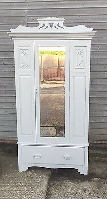 Lovely Art Nouveau Walnut Wardrobe With Beveled Mirrored Door, Grey