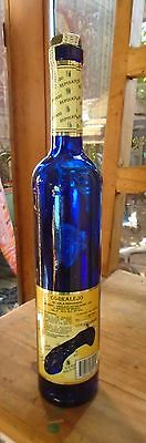 Beautiful Tall & Slim Cobalt Blue Glass Bottle Corralejo Tequila Reposado 750ml