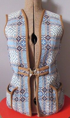 Rare 1970's CAERWYS Welsh Wool Pale Blue Waistcoat Chest 34""