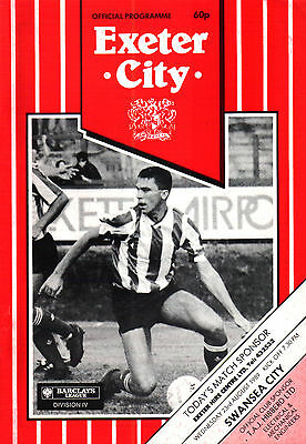 1989/90 Exeter City v Swansea City, League Cup, PERFECT CONDITION