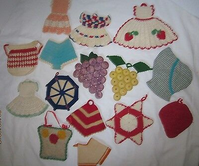 Vintage lot of 15 piece hand made both crochet and sewn hotpads w/various patter