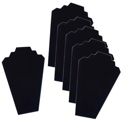 6 Necklace Display Stand Black Velvet Jewelry Display Cards Organizer Lot NEW