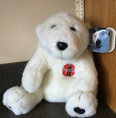 "1996 Coca Cola 9"" Solid White Collectors Plush Polar Bear with Signature Label"