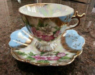 Vintage Sonsco Japan Pearlized Cup & Saucer Blue Gold Pink Roses