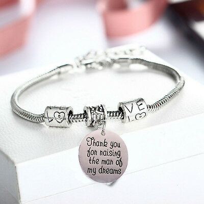 D28 Thank You For Raising The Man Of My Dreams Silver Love Charm Bracelet