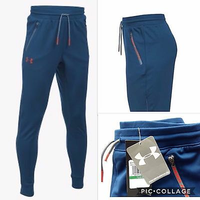 *NEW* UNDER ARMOUR BOYS PENNANT TROUSERS JOGGERS TAPERED RRP;£30 10-16yrs BLUE