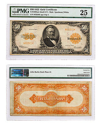 1922 $50 Gold Certificate - Small S/N Mule Fr#1200am PMG VF25 SKU47764