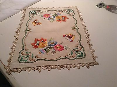 Vintage Stunning Hand Embroidered Butterflies Flowers Linen Tray Cloth