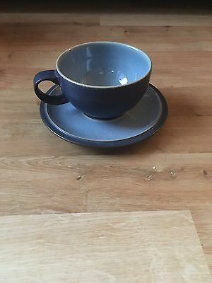 Denby Blue Jetty Set Of 6 Cups And Saucers - Excellent Condition
