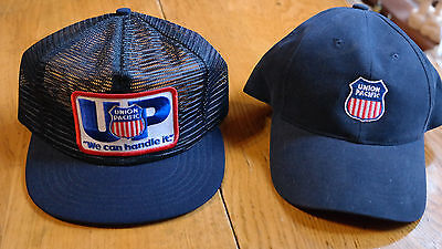 2 Union Pacific RR Caps Both w Patches on Front 1 Cloth Pinnacle Award & 1 Net