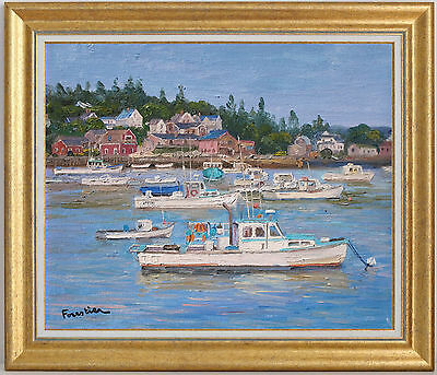 Seascape In Vinalhaven, Maine~Listed Artist~Original Oil Painting Marc Forestier