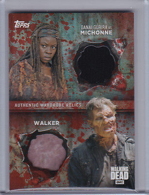 2017 Topps Walking Dead Season 6 Dual Relic Michonne Walker Blood Parallel #1/1