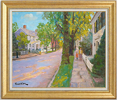 Street In Nantucket~Listed Artist~Original Oil Painting By Marc Forestier