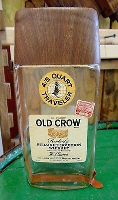 Vintage OLD CROW Whiskey TRAVELER FIFTH  w/ Buckle Strap-EMPTY With Tax Stamp