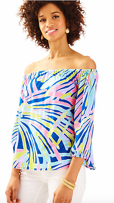 efad9a561273c NWT Lilly Pulitzer Enna Knit Off the Shoulder Top Indigo Sea Dreamin sz XS