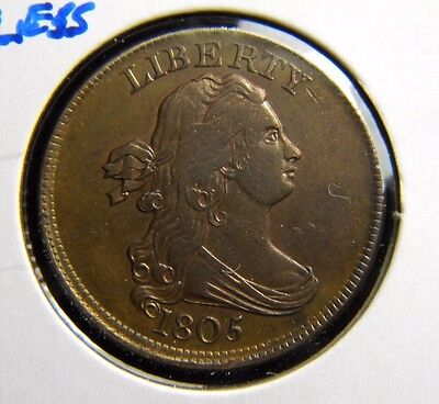 1805 (Med 5) Draped Bust 1/2 Cent***stemless***about Uncirculated Condition**bge