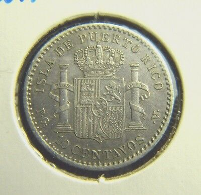 1896 PUERTO RICO 10 CENTAVOS***ABOUT UNCIRCULATED CONDITION***Km#21***AEO