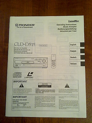 Rare PIONEER CLD-D515 LASERDISC Player Owners Manual