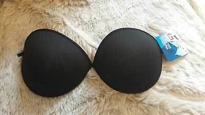 Black underwired sew in bra cups C cup