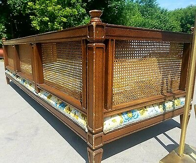 """Long Sofa Cane Bamboo Wicker - Vintage Ornate Wood Couch Sofa Bird Birds  92""""L!"""