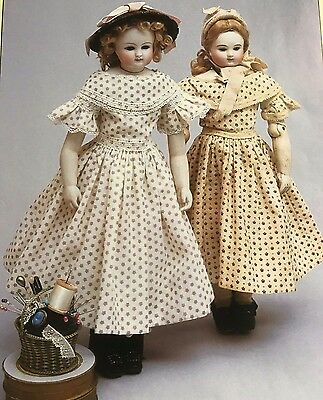 "17-18"" Antique Rohmer  Huret Fashion Doll 1860 Wide Collar Spring Frock Pattern"