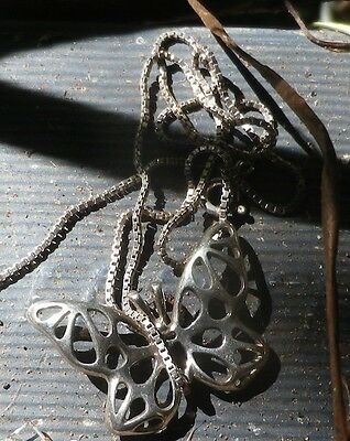 Silver 925 Necklace Chain Vintage Antique BUTTERFLY 3.2 cm * NZ Estate