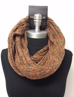 New Women's Winter Knit Shiny Browns 2-circle Cowl Infinity Scarf Wrap Neck Loop