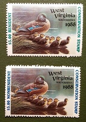 West Virginia 1988 Waterfowl Duck Stamps Res & NR MNH VF CV$22