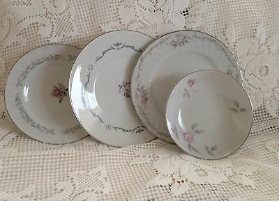 4 PC Vintage China Salad Plates Bread Plates Berry Bowl White Gray Pink Roses