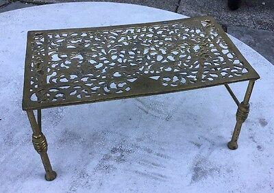 Early Antique Brass Trivet Warmer With Engraved English Hunting Scene
