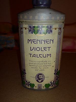 "Vintage Mennen Violet  Talcum Powder  6"" Tin Great Graphics"