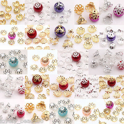 Lots Hollow Flower Pattern Beads End Caps For Charm DIY Jewelry Findings Making