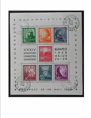 Hungary 1938 Eucharistic Conf Mini Sheet CTO